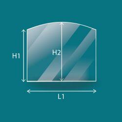 Vitre en rectangle cintré - 4mm autonettoyant