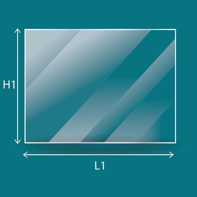 Vitre Rectangle - Godin ARGENTIC - ARIEGEOIS gaz / dim. 478 x 200