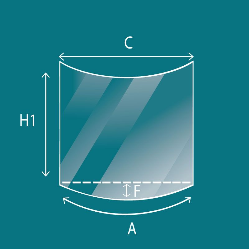 Vitre Courbe - Schulhof Vitre courbe - Dim. 360 x 484 mm