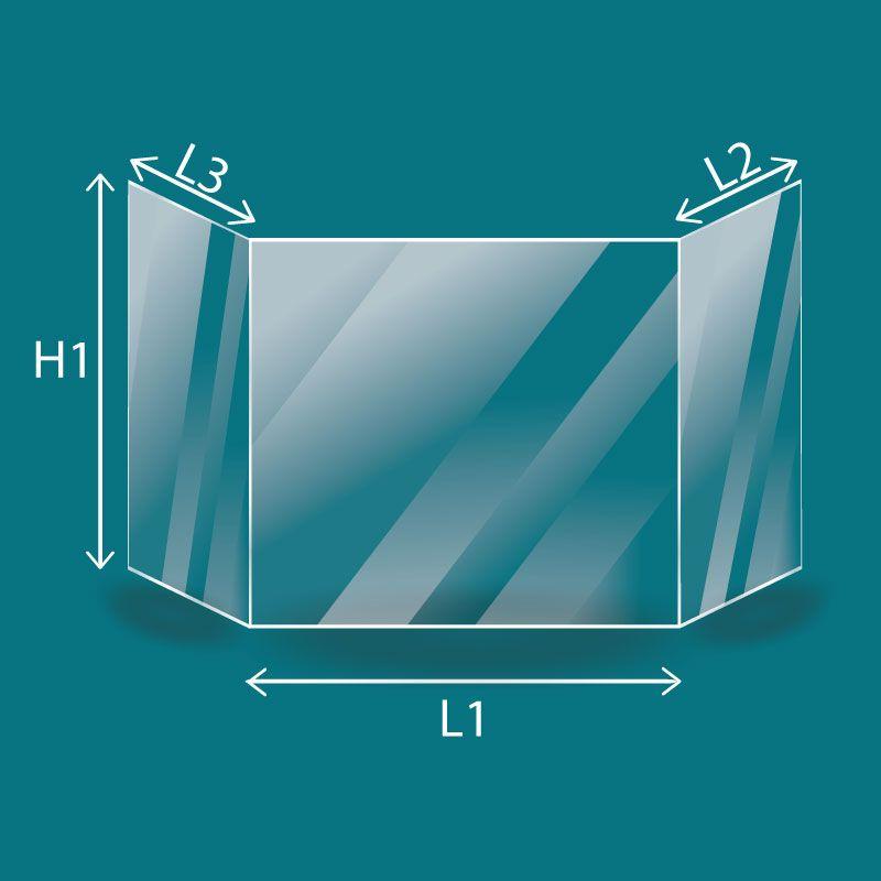 Vitre Prismatique - Fonteflamme Vitre prismatique - Dim. (113+405+113) x 338 mm