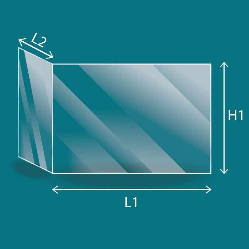 Vitre Pliée - Faber Vitre pliée - Dim. (400+400) x 600 mm