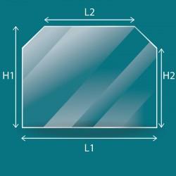 Rechteckiges Glas mit 2 abgeschnitten Ecken nach Maß