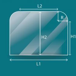 Vitre 2 angles arrondis sur mesure - 5mm