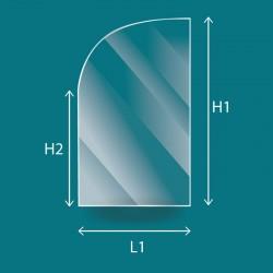 Rechteckiges Glas mit einer abgerundeten Ecke
