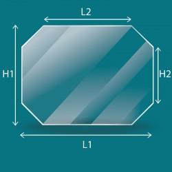 Rechteckiges Glas mit 4 abgeschnitten Ecken nach Maß