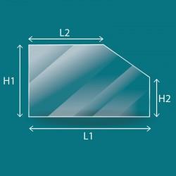 Rechteckiges Glas mit einer abgeschnitten Ecke/...