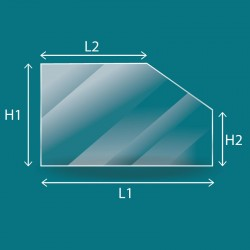 Vitre plate avec 1 angle coupé