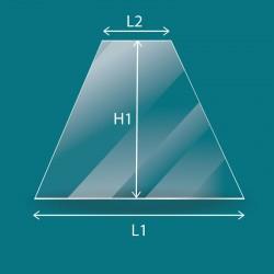 Vitre trapèze isocèle plate sur mesure