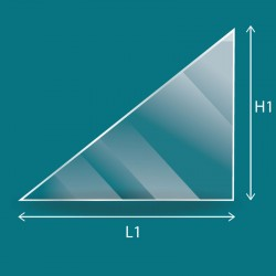 Flaches Glas in Form eines rechtwinkligen Dreiecks