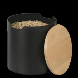 Stockeur A Granules Barrel Noir - Couvercle Bois