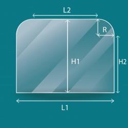 Rechteckiges Glas mit 2 abgerundeten Ecke
