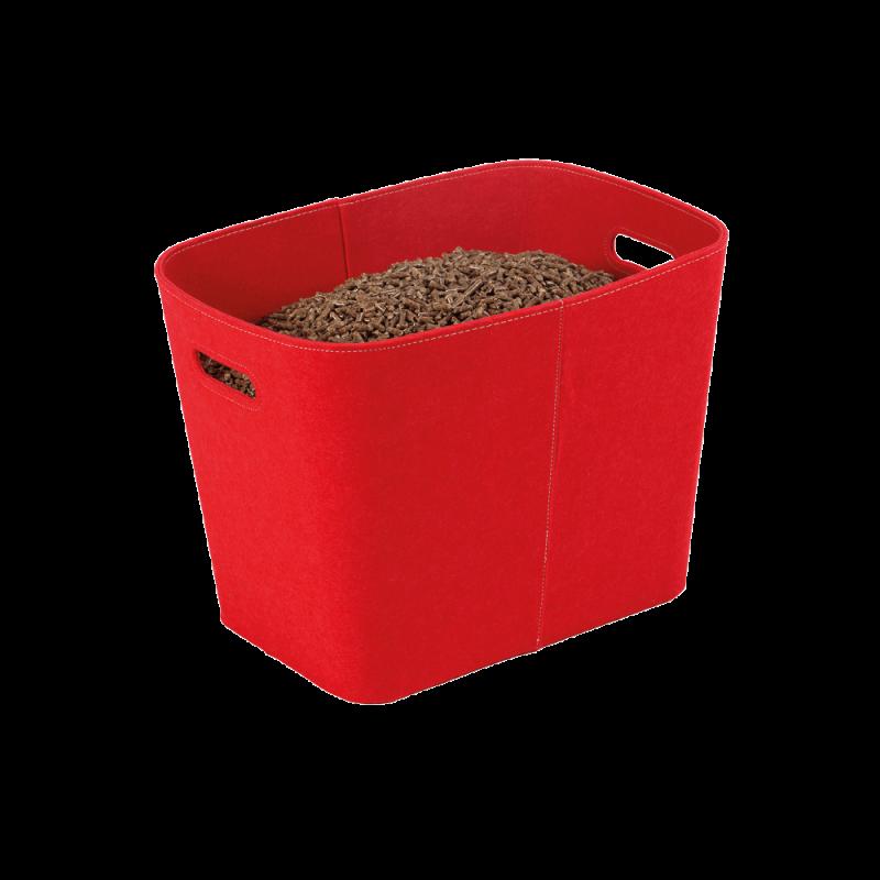 Rangement Bois/Granules Feutrine Rouge Felt